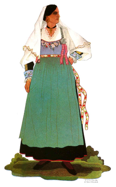 136 Donna Maritata di Calitri in Abito Festivo - Married Woman from Calitri in Holiday Attire