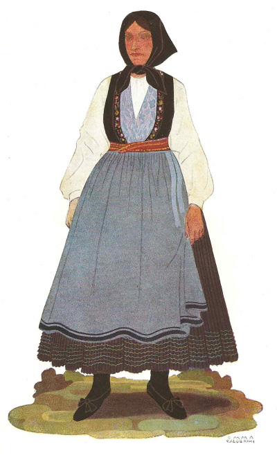 59 Contadina di Neresine in Abito Festivo - Peasant Woman from Neresine in Holiday Attire