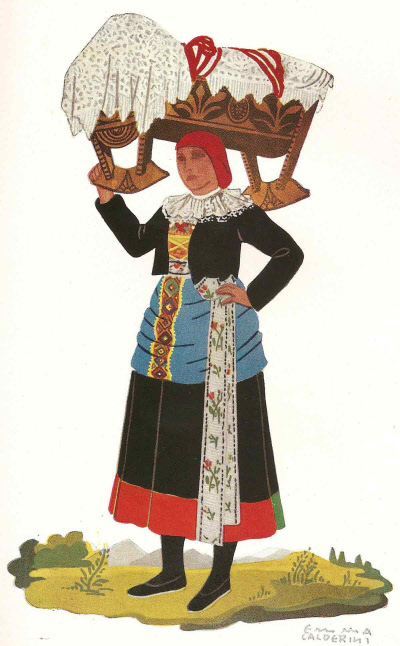 11 Contadina di Rimella Valsesia in Abito Festivo - Peasant Woman of Rimello in Holiday Attire