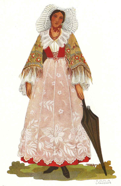 14 Massaia di Carema nell Antico Costume - Housewife from Carema in Ancient Costume